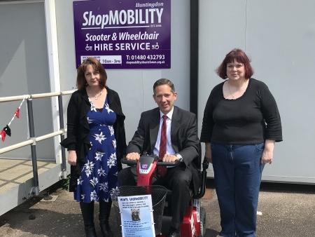 Jonathan showing support for Huntingdon Shopmobilit