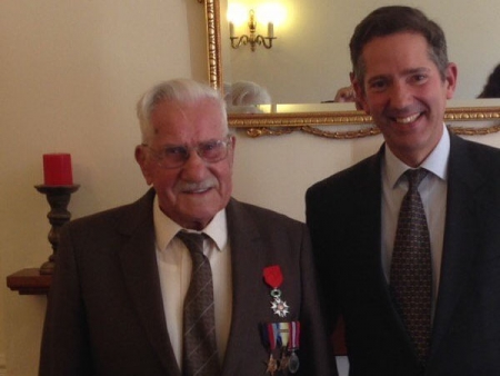 With former Royal Marine Sid Wildber who has been awarded the Legion d'honneur by the French government