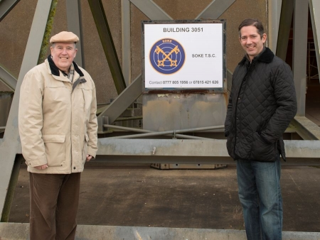 Jonathan Djanogly and Alan Robertson visit the site of the new shooting club on Alconbury Weald