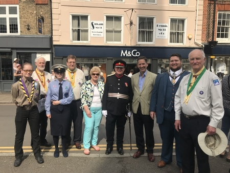 Jonathan attending the Cromwell District Scouts St George's Day parade in St Ives.