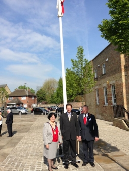 Jonathan Djanogly with Cllr Barbara Boddington and Cllr Jason Ablewhite celebrating St George's Day