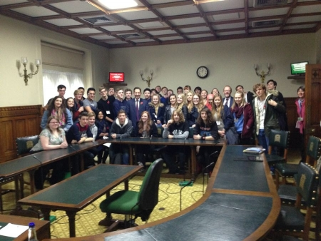 Jonathan Djanogly meeting sixth form politics students from St Ivo School during their visit to Parliament.