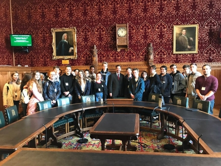 Jonathan welcoming St Ivo School pupils to Parliament.