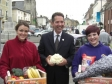 Jonathan is pictured with traders at St Ives market as part of Love Markets Fortnight