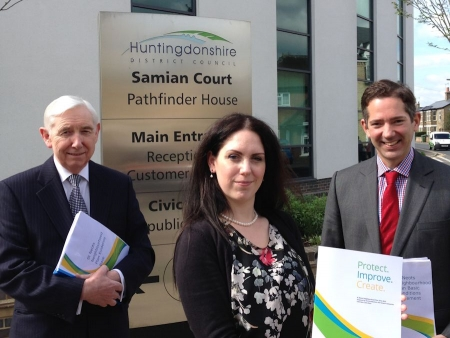 Jonathan Djanogly joins Cllr Mrs Louie Ruck and Cllr David Harty to  submit the St Neots Neighbourhood Plan to Huntingdonshire D