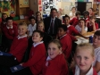 Jonathan Djanogly meets Year 6 pupils on a visit to Stukeley Meadows Primary School.
