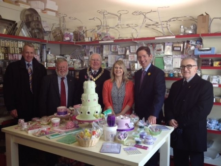 Jonathan visiting FSB member Sugar Daddy's in St Neots with FSB Chairman Malcolm Lyons and Town Mayor Cllr Andrew Hansard