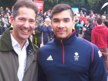 Jonathan is pictured with Olympic Bronze Medalist Louis Smith at Huntingdon Gym on Sunday 8 July.