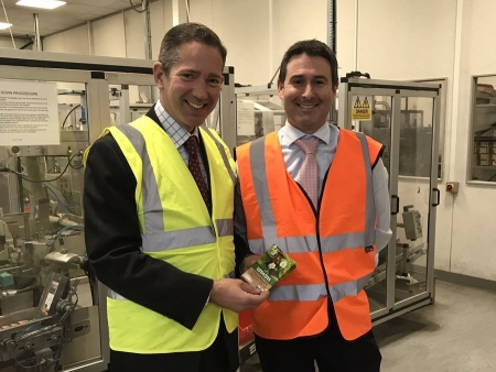 Jonathan visiting Westland Horticulture's local seed packing plant in Alconbury.