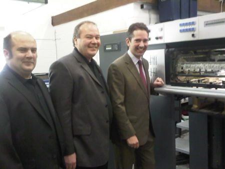 Jonathan being shown XL Press Limited in St Neots by Tony and Sam