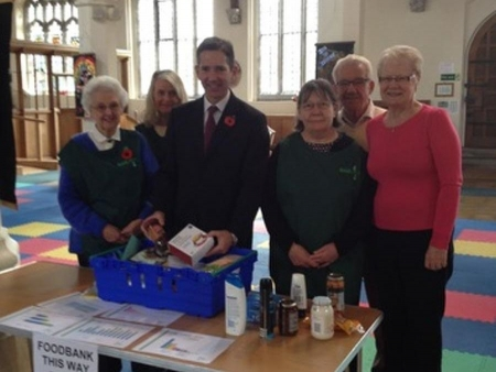 Jonathan Djanogly meeting volunteers at the St Neots food bank, St Mary's Church, Eaton Socon.